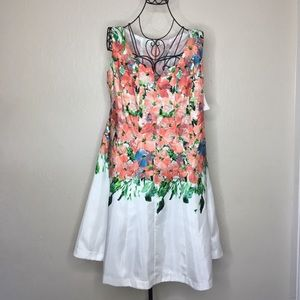Dressbarn sleeveless floral a-lime dress #447